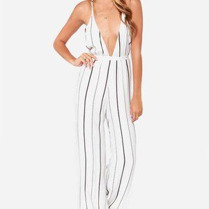 Faithfull the Brand Ivory Striped Jumpsuit Size XS